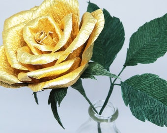 Gold Paper Rose for Paper Anniversary