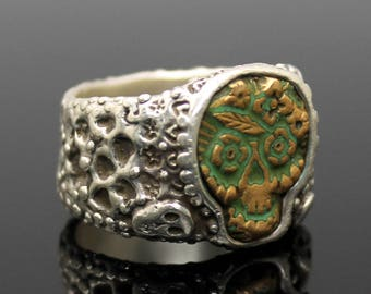GIFT IDEA !! Superb RXV Ruben Viramontes Mexican Artisan Down Under Sugar Skull Day of The Dead Solid Sterling Silver Wedding Band Ring 10