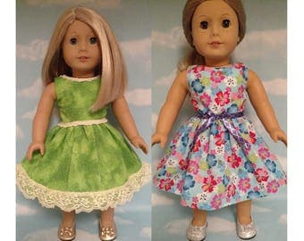 18 inch Girl Doll Clothing, handmade to fit like American Girl Doll clothes (Dress Choose green or blue) d-27ab