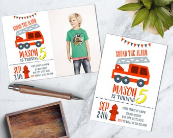 Fire Truck Birthday Invite, Firefighter Birthday Invite, Firefighter Invitation, Boy Fire Truck Party, Fireman Party, Sound the Alarm Party
