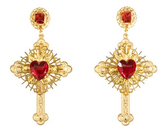 Sacred heart cross earrings with vintage glass heart crystals