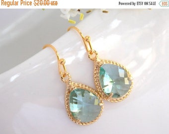 SALE Wedding Jewelry, Bridesmaid Jewelry, Erinite Earrings, Blue Mint, Aqua, Seafoam, Bridesmaid Gifts, Bridesmaid Earrings,Dangle,Gold,Gift