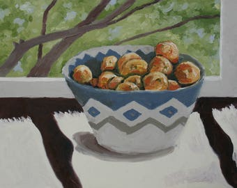 Tangerines in the Late Afternoon Still Life Oil Painting 12x9