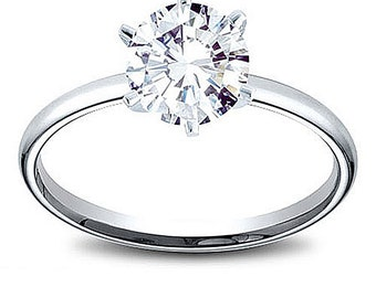 14K Gold 0.7 ct Round Cut Diamond Solitaire Engagement Ring G SI3