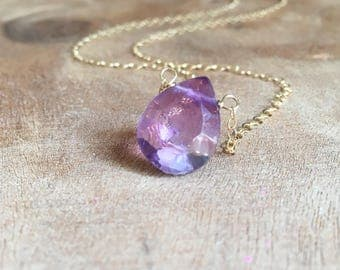 Amethyst Necklace - Amethyst Jewelry - Gold Amethyst Necklace - Amethyst -February Birthstone - Dainty Gemstone Necklace