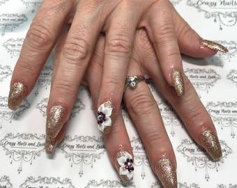 Press on nails.3D nails art/gold/rhinestones