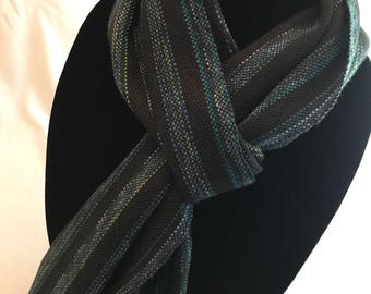 Handwoven Black & Blues Scarf