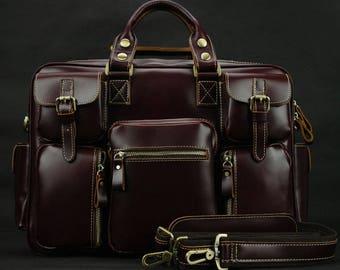 "FREE SHIPPING! Men's Handmade Vintage Leather Briefcase, Messenger Bag, 13""/14""/15"" Macbook Bag/Laptop Bag, Christmas Gift, Genuine Leather"