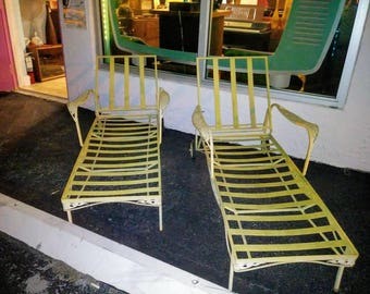 Mid Century Modern Patio or Poolside Pair of Lounge Chairs Vintage Circa 1950's