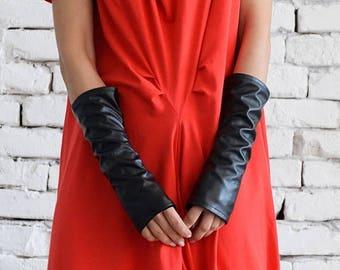 ON SALE Leather Gloves / Fingerless Gloves/ No finger gloves/ Long gloves/ Eco Leather Gloves by METAMORPHOZA