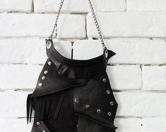 SALE Extravagant Oversize Necklace/Genuine Leather Studded Necklace/Asymmetric Large Pendant/Leather Statement Necklace/Necklace with Studs