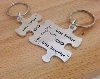 jigsaw puzzle piece keyring, matching set, personalized puzzle, father daughter set, gifts for dad, daughter to father gift present, uk