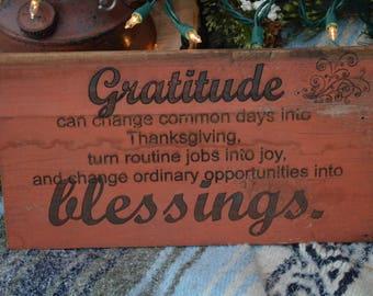 Grattitude-Blessings laser engraved on choice of barnwood.