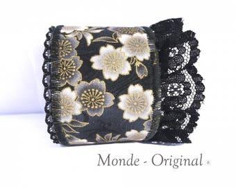 Fabric Cuff Bracelet IV fabric gray black Japanese lace jean