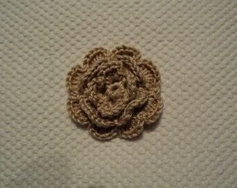 SET of 10 flowers BEIGE to CROCHET for EMBELISSEMENT ref: z37