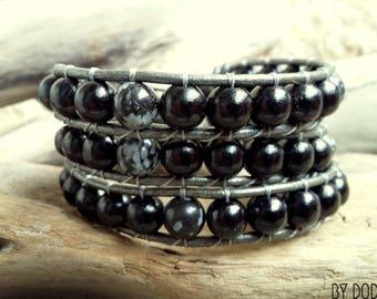 Bracelet wrap 3 turns Man, black leather, black wood, Snowflakes Obsidian, Boho jewelry, By Dodie
