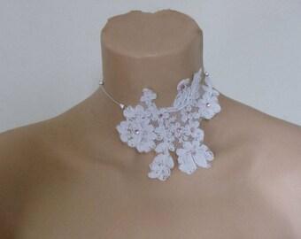 unique pink necklace rhinestone white lace Choker! wedding
