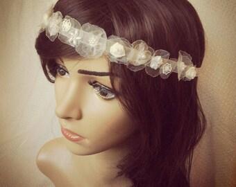 Boho wedding floral headband, bridal boho chic hair accessories, flower hair vine for rustic wedding