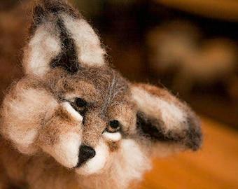 Needle Felt Fibre Art Wolf Cub