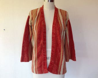 1970s Earthy striped cardigan sweater