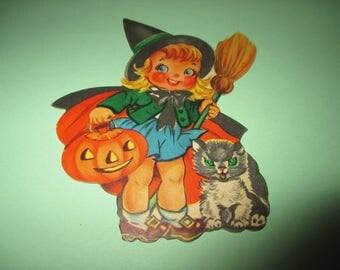 Vintage SMALL Witch Halloween Die Cut, JOL, Pumpkin, Cat, 1950's Halloween,