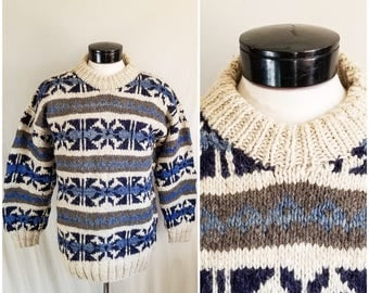 Vintage Handmade Icelandic Sweater // Alpine Pullover Heavy Wool Nordic Sweater // Heavy Thick Knit Winter Christmas Sweater Sz Medium Large