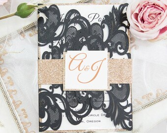 50 Upscale Graceful Laser Cut Wedding Invitation Sets: Invitation, RSVP, Direction or Accommodation, Thank You Card