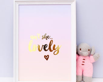 Baby Girl Nursery Print - Gold Foil Print - Girl Nursery Prints - Gold Foil Ombre Art - Pink Baby Print - Gold Foil Nursery - Nursery Decor