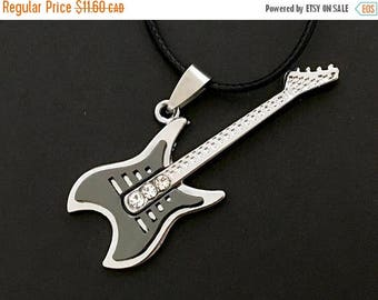 Clearance sale Guitar Necklace , Men , Teens , Band , Notes , Music , Rhinestones