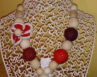 Babywearing and breastfeeding heart and Flower necklace