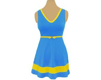 Light Blue + Bright Gold Skater Dress