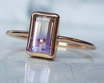 Solid 8K yellow gold ametrine ring - natural violet and yellow ametrine - free resizing handmade unique gold jewelry - natural gemstone ring