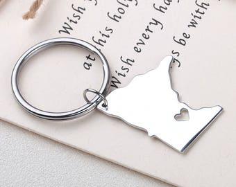 I heart Minnesota keychain - Minnesota keyring - Map Jewelry - State Charm - Map keychain