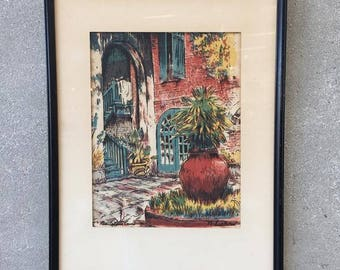"Vintage N. Luckow New Orleans Water Color ""Brulatour Court"" (YP1X57)"