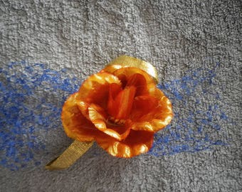 PIN/accessory for headband, orange flower, Veil bleue@evysoie