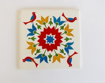 Greek Folk Art Tile Trivet
