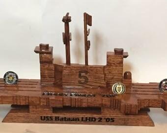 Navy Style 2D 1/2 Aircraft Carrier Coin Holder (USS Bataan LHD 2)