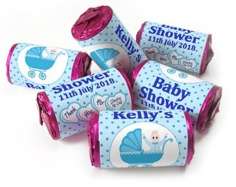 Personalised Love Heart Sweets, Baby Shower, Favours ( Select from 1 to 96 Rolls) - Spotty Blue