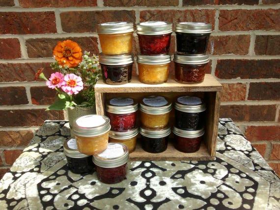 12- 4oz Vanilla Jam Variety Pack, Strawberry, Peach, Blueberry, Jam, Preserves, Jelly