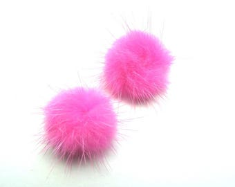 2 POMPOMS FUR MINK PINK 20 MM
