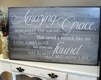 "Amazing Grace Sign, Distressed Wood Wall Art. Large 24"" x 38"". Perfect home decor for your home!"