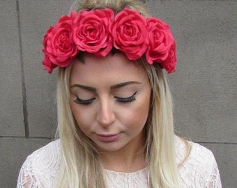 Red Rose Flower Headband Garland Boho Hair Crown Elastic Festival Stretch 4934