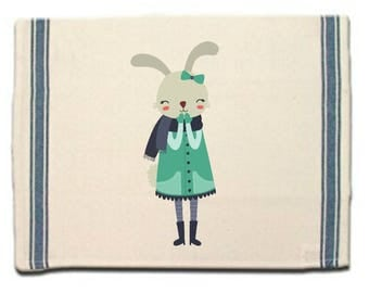 Bunny in Scarf Kitchen Towel Rabbit lovers gift tea Towel Flour Sack Material Woodland Animals Dish Towel Whimsical Towel Dish Cloth