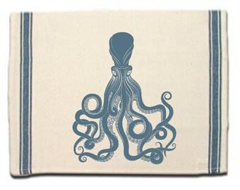 Octopus Lovers Gift Kitchen Towel|Dish Towel| Tea Towel| Flour Sack Material Sea Life Towel Flour Sack Kitchen Towel Whimsical Dish Cloth
