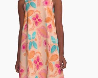 Orange flower tropical print 'A' line floaty dress