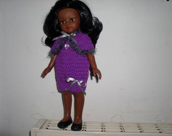 Purple doll dress crochet with her cape