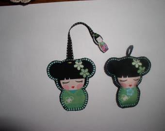 Green key ring and bookmark kokeshi