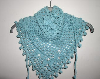 scarf with butterflies crocheted turquoise Alpaca
