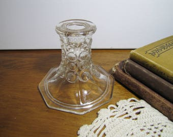 Glass Candle Holder - Flared Based - Circular Pattern - Octagon Shaped Base