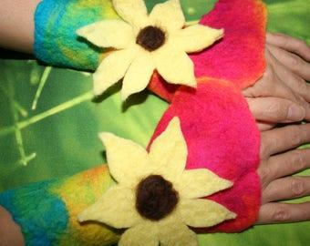 Sunflower Wrist Warmers Cuffs. Woodland Folk Nymph Dreamy Felted Wrist Warmers.Arm cuffs. OOAK Wearable Art. Flowers. Pixie Fairy Accessory.